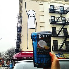 If you want some Simply Toasted Coconut Chips just raise your hand! #locoforcoco #NYC #streetart #baresnackattack #paleo #vegan #glutenfree #nongmo