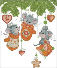cross stitch - 3 cute little mice hanging on Christmas tree