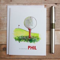 """Get ready to relax or hit a hole-in-one with these lovely golf notes! This personalized set of 8 folded blank-inside note cards is a thoughtful (and useful!) holiday, birthday, thank you, congratulations or just because gift. Treat yourself or someone special to these unique, ink and watercolor cards. This listing is personalized with """"A note from [YOUR NAME]"""". These lovely 4.25 x 5.5 A2 cards are printed on 110lb. white, thick, sturdy card stock and come with matching white envelopes…"""