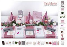 Runde Tische dekorieren Tisch rund in Pink und Aubergine mit