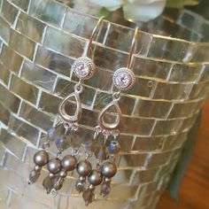 Flirty Lightweight Sterling Silver and Swarovski crystal and pearl Chandelier Earrings Pearl Chandelier, Chandelier Earrings, Swarovski Crystals, Cuff Bracelets, Pearls, Sterling Silver, Trending Outfits, My Love, Unique Jewelry