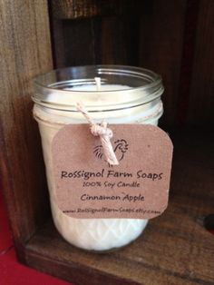 Cinnamon Apple Soy Candle in 8oz Jelly Jar by RossignolFarmSoaps, $7.00