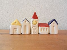Miniature ceramic Houses  set of 5 houses clay by potteryhearts