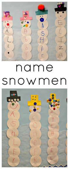 Leer de eigen naam #letterkennis >Name Snowmen from www.fun-a-day.com - A fun snowman craft that helps kids learn their names!