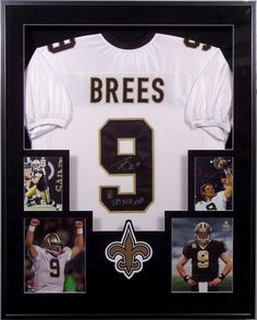This one is for the sports lovers! Custom framed football jersey with accompanying photographs and team logo. Framed jerseys are perfect to hang in game rooms or offices! #Giftidea @bradleyshouston