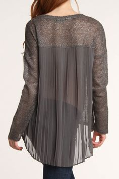 https://www.beyondtherack.com/auth/register?invite=type101_fb=1  Gray Sheer Pleated Back Sweater