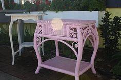 Pink Wicker Side Table