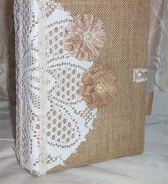 Wedding Burlap Photo Album #14 Pearl Country Ranch Handmade Flower lg holds 400…