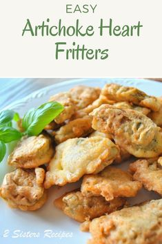 Artichoke Heart Fritters – 2 Sisters Recipes by Anna and Liz Artichoke Heart Recipes, Artichoke Hearts, Artichoke Ideas, Veggie Recipes, Cooking Recipes, Vegetable Appetizers, Vegan Appetizers, Waffle Recipes, Veggie Dishes