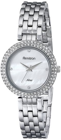 Armitron Women's 75/5262MPSV Swarovski Crystal-Accented Silver-Tone Bracelet Watch ** You can find out more details at the link of the image.