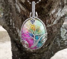 Tree of Life Pendant covering Vividly Stunning Smoothly Polished Druzy by TheSleepyFirefly