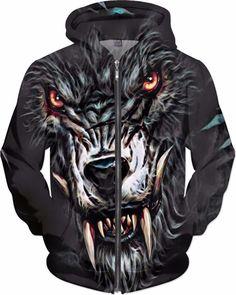 NBK Dark Wolf Custom Fable Rave Fantasy Style Zip Hoodie by Willy Badu.