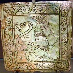Medieval Tile with crowned Lion decoration.