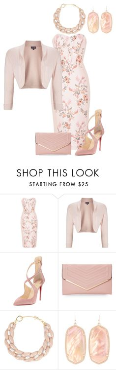 """Light pink patterned dress in combination with gold jewelry"" by andrea-barbara-raemy on Polyvore featuring Mode, STELLA McCARTNEY, Phase Eight, Christian Louboutin, Sasha, DIANA BROUSSARD und Kendra Scott"