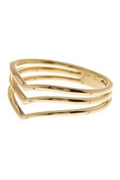 14K Yellow gold Three Row Chevron Ring