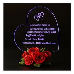 Valentines Ideas Gift For Her Valentine's Day LED Light Heart Decoration Roses #ValentinesIdeasGift