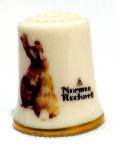 GORHAM CHINA THIMBLE NORMAN ROCKWELL NATURE FRIENDS COLLECTION THE RABBIT