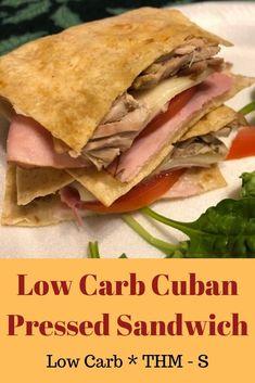 Low Carb Cuban Pressed Sandwich - An Ordinary Housewife Pressed Sandwich, Sandwiches, Shredded Pork Recipes, Trim Healthy Momma, Healthy Life, Cuban Pork, Healthy Sandwich Recipes