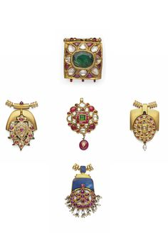 FIVE DIAMONDS AND GEM-SET PENDANTS INDIA, 19TH/EARLY 20TH CENTURY. Four of circular form and one square, each with stylised floral decoration, inset with diamonds, foiled rubies and emeralds,the reverse decorated with enamelled floral sprays, each with modern laces and mounts The largest 3 3/8 x 1¼in. (8.5 x 3cm.)