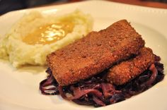 Buttermilk Tofu, Braised Red Cabbage, Mashed Potatoes and Gravy (w/recipes) by tofu666, via Flickr
