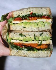Balsamic Tofu Sandwiches Ezekiel Bread, Veggie Sandwich, Healthy Sandwiches, Vegan Options, Roasted Sweet Potatoes, Arugula, Avocado, Veggies, Stuffed Peppers