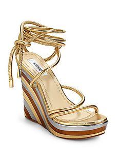 Moschino Wrap-Around Ankle Tie Wedge Sandals/Gold