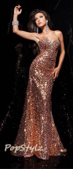 Tony Bowls Sequin  Dress #promshoesgold