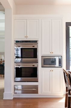 Oven Cabinet Layout. Kitchen Oven Cabinet. Kitchen Oven Cabinet Ideas. Kitchen Oven Cabinet Design. Kitchen with two ovens, warmer drawer and microwave oven. #Oven #Cabinet #Kitchen Jean Stoffer Design.