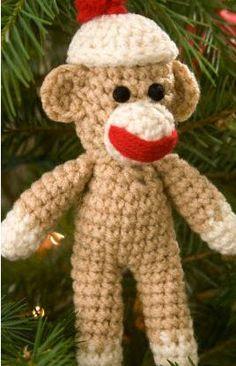 Red Heart® Sock Monkey Ornament #crochet
