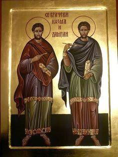 Sveti Kozma i Damjan Church Icon, Byzantine Icons, Orthodox Icons, Saints, Religion, Writing, Serbian, Lamb, Angels