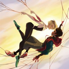 Great spider Gwen and miles morales art by . Miles Spiderman, Miles Morales Spiderman, Spiderman Spider, Spider Girl, Amazing Spiderman, Spiderman Gwen Stacy, Spider Women, Marvel Art, Marvel Heroes