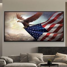 Eagle Painting, Painting Prints, Canvas Prints, Open Wall, Happy Paintings, Custom Framing, Canvas Frame, American Flag, Wrapped Canvas