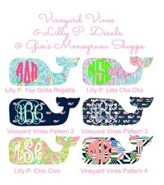 Monogrammed Whale Decal Vineyard Vines meets Lilly Pulitzer whale decal sticker in any size and pattern on Etsy, $7.99