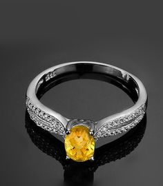Simple Citrine Silver Ring