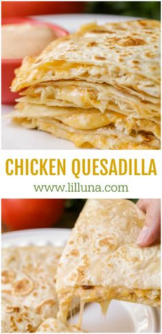 quesadilla recipes Chicken Quesadilla Easy Cheesy Chicken Quesadillas that are a crowd favorite. They are not only filled with cheese and chicken, but a delicious homemade sauce that makes these hand-held goodies irresistible! Can Chicken Recipes, Cheesy Recipes, Mexican Food Recipes, Recipes With Shredded Chicken, Sausage Recipes, Quesadilla Sauce, Chicken Quesadillas, Chicken Quesadilla Recipes, Cheese Quesadilla Recipe