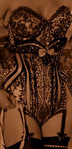 Mr. Pearl corset and brassiere worn by Dita Von Teese