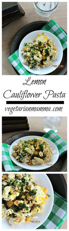 Lemon Cauliflower Pasta @vegetarianmamma.com #vegetarian #lemon #pasta #glutenfree #cauliflower