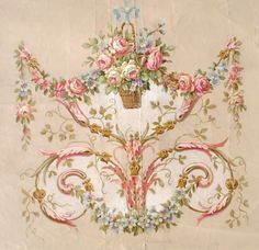 A worthy goal: Rococo pattern painted by Christie Repasy Decoupage Vintage, Vintage Paper, Vintage Art, Decoration Baroque, Illustration Blume, Vintage Flowers, Vintage Images, Vintage Prints, Hand Painted