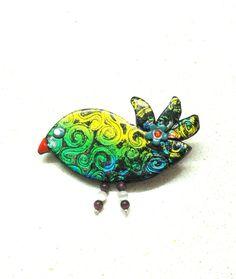 women accessories Brooch Bird polymer clay Faux dichroic handmade jewelry by artefyk via Etsy