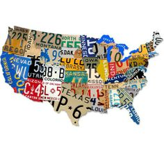 Vintage and Retro Wall Decor - JackandFriends.com - Retro License Plate USA Map Tin Sign 35 x 21 Inches, $99.97 (http://www.jackandfriends.com/retro-license-plate-usa-map-tin-sign-35-x-21-inches/)