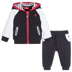 Brilliant for baby boys who love cars, this Ferrari tracksuit has the designer's iconic prancing horse logo on both the jacket and trousers in bright Ferrari red. Made in comfortable cotton jersey, the fleecy underside will keep little ones cosy whilst relaxing, and it's a quick and easy outfit to put on, with the trousers simply pulling up and the jacket having a chunky logo zip fastener.