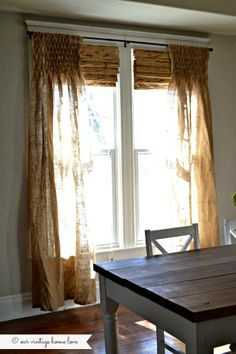 our vintage home love: DIY Smocked Burlap Curtains