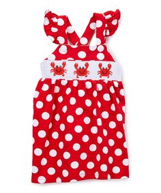 Red Polka Dot Crab Smocked Dress - Infant, Toddler & Girls