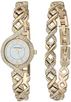 Armitron Women's Quartz Metal and Alloy Dress Watch, Color:Gold-Toned (Model: 75/5412WTGPST) *** To view further for this watch, visit the image link.