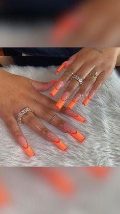 Orange Acrylic Nails, Long Square Acrylic Nails, Bling Acrylic Nails, Acrylic Nails Coffin Short, Best Acrylic Nails, Orange Nails, Blue Nails, Coffin Nails, Drip Nails