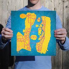 Grand Theft Auto | City Prints Map Art