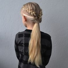 dutch lace bread into flipped ponytail - Google Search