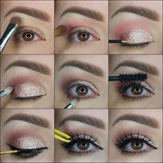 9 Steps Elegant Golden Glitter Makeup Tutorial