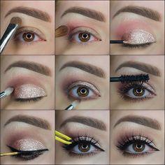9 Steps Elegant Golden Glitter Makeup Tutorial