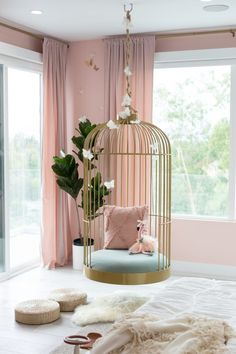 Dream Butterfly Bedroom & Rainbow Playroom for Elle and Alaia What girl wouldn't dream of a life-size bird cage hanging chair in their room? This whimsical detail makes the bedroom a total dream come true. Cute Bedroom Ideas, Cute Room Decor, Girl Bedroom Designs, Room Ideas Bedroom, Wall Decor, Girl Room Decor, Girl Kids Room, Ideas For Bedrooms, Cute Rooms For Girls